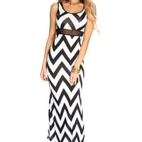 White Black Chevron Printed Maxi Dress