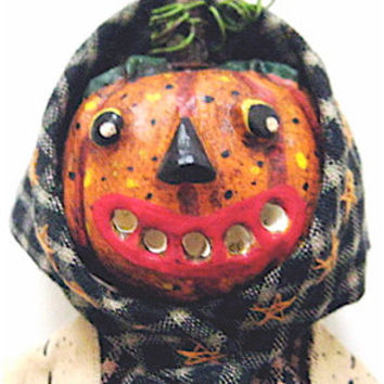 "OOAK Primitive Folk Art Pumpkin Head Doll ""GWENDOLYN"" Original Design-Freehand Sculpted Pumpkin Head w/Hand Stitched Original Verse"
