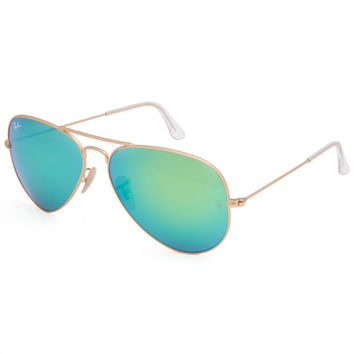 Ray-Ban Aviator Flash Lenses Sunglasses Gold/Green Mirror One Size For Men 24694662101