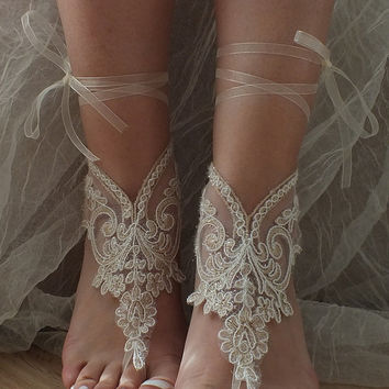 Champagne ivory frame Beach wedding barefoot sandals