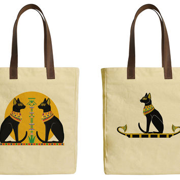 Women Egyptian Cat Beige Print Canvas Tote Bags Leather Handles WAS_30