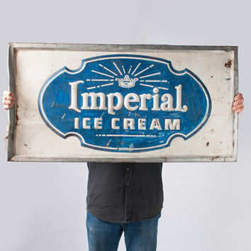 Antique Metal Ice Cream Sign - 1920's Vintage Embossed Advertising Sign