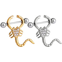 Women Scorpion Design Nipple Barbell Ring Bar Rhinestone Body Piercing Jewelry