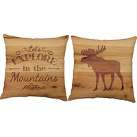 Set of 2 Let's Explore in the Mountains Throw Pillows - Moose Print Pillow Covers and or Cushion Inserts - Cabin Decor, Moose Print, Camping