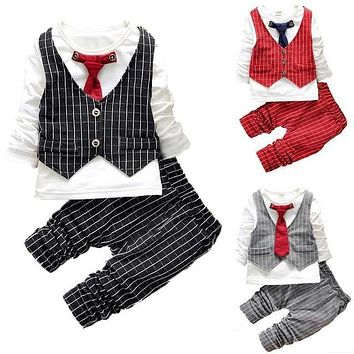 Fashion Baby Boy Clothes Sets Gentleman Suit Toddler Boys Clothing Set Long Sleeve Kids Boy Clothing Set Christmas Outfits