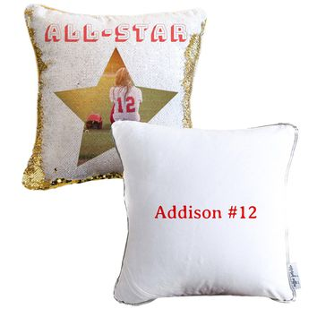 All Star Personalized Sequin Photo Pillow | Includes Pillow Insert