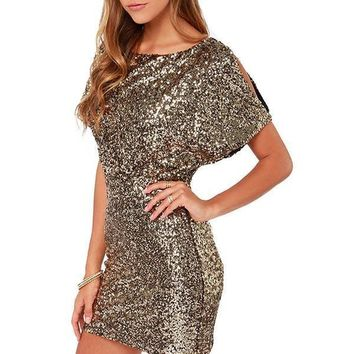 Women's Elegant Gold Sequin Bodycon New Years Eve Party Dress