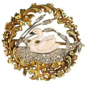 Antique brooch swan on diamonds lake (ca.1880)