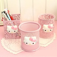 Kawaii Hello Kitty Pink Hollow Metal Pencil Pen Holder Desk Organizer Storage Box Stand Case Student Stationery porta caneta