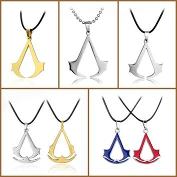 Assassins Creed Stainless Steel Pendant Leather Necklace jewelry for men women Game Vintage Ezio Deiss Mond Silver Pendant Gift