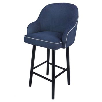Terry Fabric Swivel Bar Stool, Denim Slate Blue
