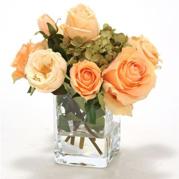 Waterlook (r) Peach Roses In Square Glass Vase