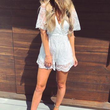 Here For You Romper: White