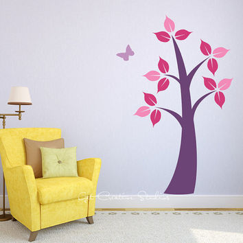 Tree Wall Decal Purple Large Big Leaves Butterfly Sticker Nature Girls Branch Pink Purple Bedroom Children Play Baby