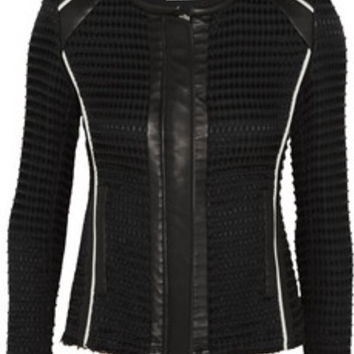 IRO Giana leather-trimmed waffle-knit cotton-blend jacket – 62% at THE OUTNET.COM