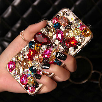 Luxury rhinestone iphone 6 plus case crystal flower iphone 6 case iphone 5/5s/4/4s/5c case samsung note 2/3/4 case samsungs s4/5 cases cover