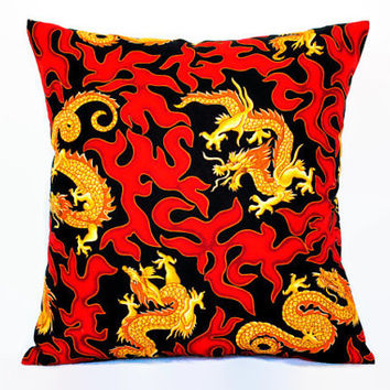 Dragon Pillow Cover // Red Black and Gold Pillowcase // Envelope Pillow Cover // Home Decor // Asian Decor