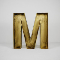 "12"" Inch Gold Wood Letter 'M' Rustic Decor"