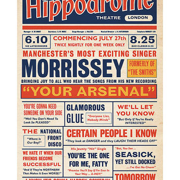 Morrissey 'Your Arsenal' Playbill Poster Print Music Hall Vaudeville Theatre Literary Print