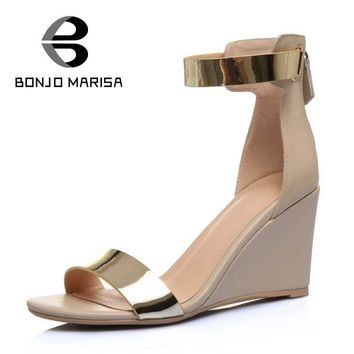 2017 Ankle Strap Wedges Sandals Open Toe Genuine Leather