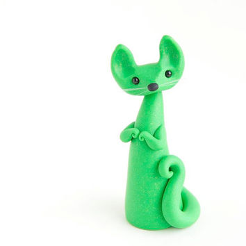 Green Cat - Glittery Spring Cat by Bonjour Poupette