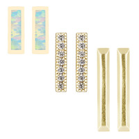 Kendra Scott Tannner Earring Gift Set in Gold with Kyocera Opal and Pave CZ