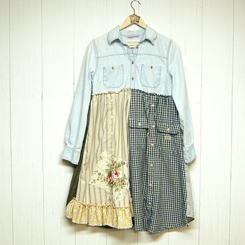 Artsy Boho Chic Dress, S/M Upcycled Clothing, Mori Girl, Shabby Chic, Denim Dress, Eco Friendly, Handmade Clothing