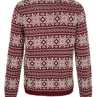 Burgundy Snowflake Sweater - TOPMAN USA