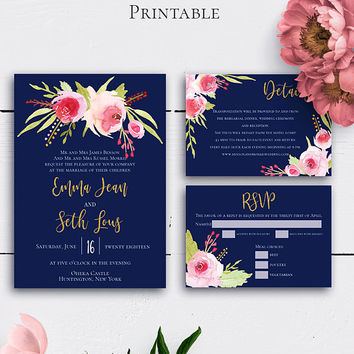Navy Blue Wedding Invitation Suite, Blush Watercolor Floral, Wedding Cards, Details Card, Response Card, Gold Glitter, Invitation Inserts