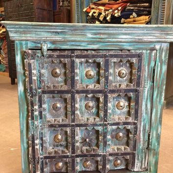 Antique Distressed Rustic Box Chest Patina Indian Furniture TV Console Cabinets Buffet