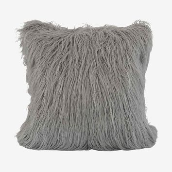 Boras 18 X 18 Mongolian Faux Fur Pillow - Grey