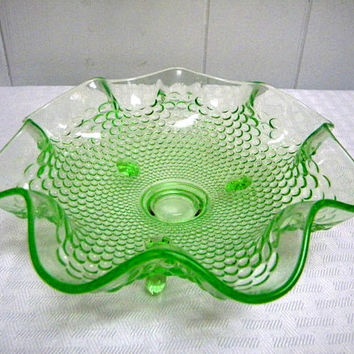 1930s Fenton bowl hobnail footed nappy made exclusively for Woolworths  green uranium glass glows