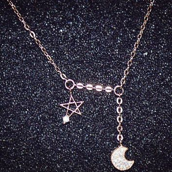 womens stars moon pendant necklace gift 116  number 1