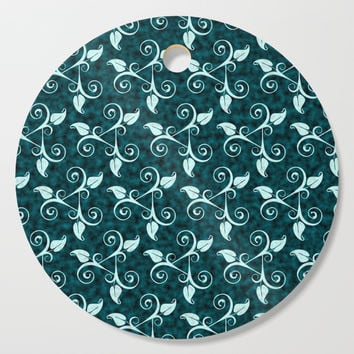 Floral Teal Cutting Board by kasseggs