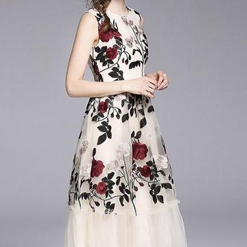 Rose Embroidered Mesh Dress