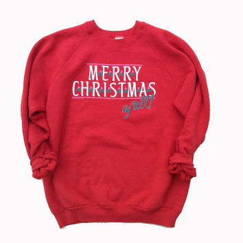 M / L Ugly Christmas Sweater - Ugly Sweater Party - Red Sweatshirt - Quirky Gift - Funny Gift - Crewneck Sweatshirt