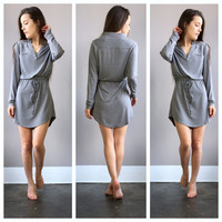 A Drawstring Tunic Dress in Grey