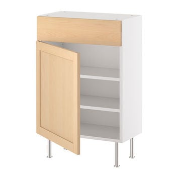 "AKURUM Base cabinet w shelf/drawer/door - white, Orsa birch, 15x12 "" - IKEA"