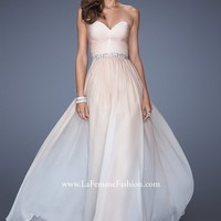 La Femme 19897 - Nude Strapless Ombre Chiffon Dress - RissyRoos.com