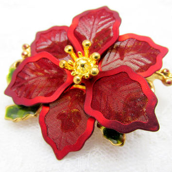 Designer Christmas Brooch Large Poinsettia Metal Mesh Signed KC Vintage Collectible Gift Item 2337