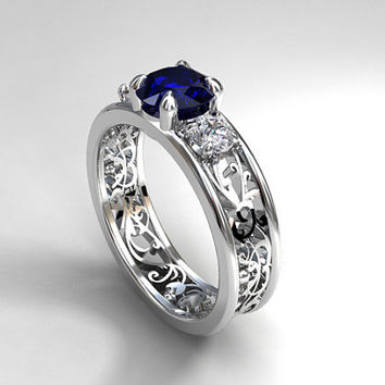 1.41ct Blue sapphire and 0.50ct diamond filigree ring, engagement ring, white gold, trinity, unique, blue sapphire wedding, blue, vintage