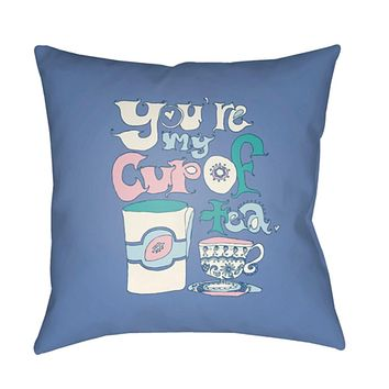 Doodle Pillow Cover - Bright Blue, Mint, Pale Blue, White, Pale Pink - DO019