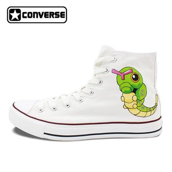 Pokemon Go Caterpie Boys Girls Converse All Star Man Woman Shoes Custom Hand Painted High Top Canvas Sneaker Men Women