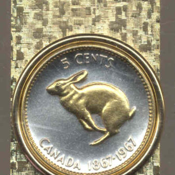 Gorgeous 2-Toned Gold on Silver Canadian  Rabbit,  Coin - Money clips