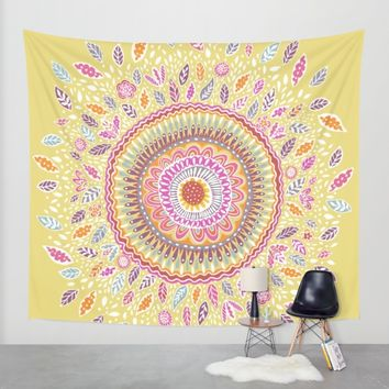 Yellow Sunflower Mandala Wall Tapestry by Janet Broxon | Society6