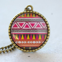 Tribal Print Necklace, Colorful Geometric Pendant, 1 inch round, Glass, Pink, Yellow, Brown, Black, Antiqued Brass Jewelry, 2014 trend