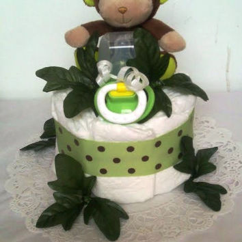 Green Jungle Diaper Cake