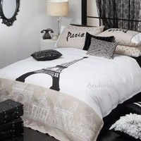 Paris Eiffel Tower  Black King  Size Quilt Cover Set New