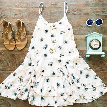 A Tiered Floral Dress in Blush