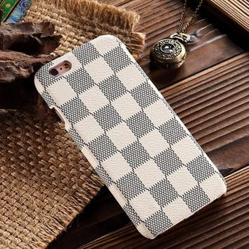 HeiL iPhone6s TPU (Fast US Deliver Guarantee Fulfilled by Amazon) New Elegant Luxury PU Leather Checker Pattern Classic Style Cover Case for Apple iPhone6 iPhone 6 6S (White)